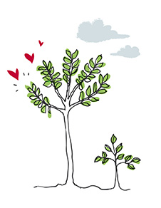 Ilustração de árvores com corações