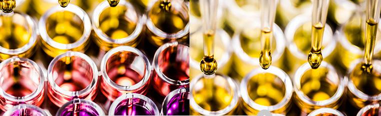 Frascos cheios de óleos / Frasco e pipeta